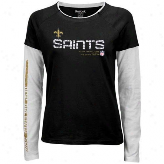 New Orleans Saints Apparel: Reebpk New Orleans Saints Ladies Black Sideline Tacon Long Sleeve Layered Tissue T-shirt