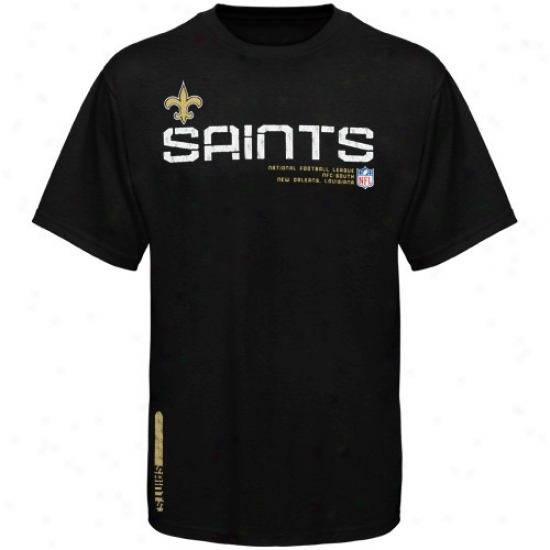 New Orleans Saints Attire: Reebok New Orleans Saints Black Sideline Tacon T-shirt