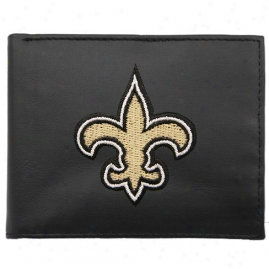 New Orleans Saints Black Embroidered Billfold Wallet