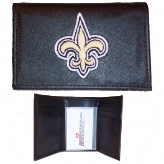 New Orleans Saints Black Embroidered Leather Trifold Wallet
