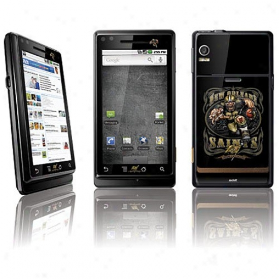 New Orleans Saints Black Peel & Stick Motorola Droid Skin Decal