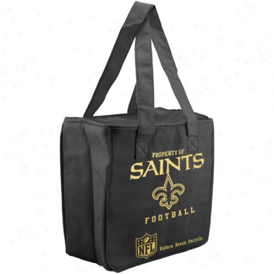 New Orleans Saints Black Reusable Insulated Tote Bag