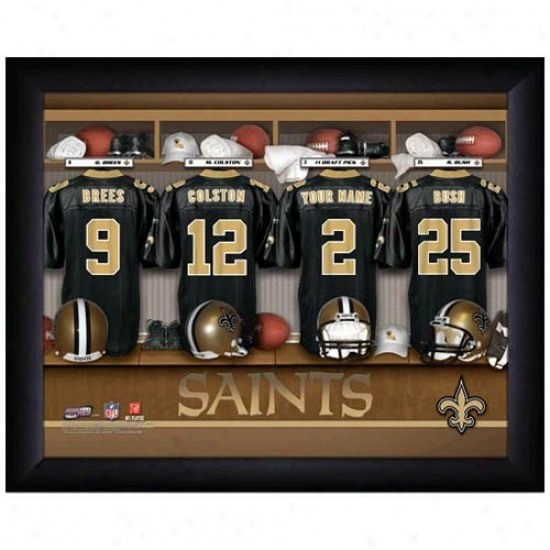New Orleans Saknts Customized Locker Room Black Framed Photo