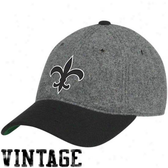 New Orleans Saints Gear: Mitchell & Ness Nee Orleans Saints Gray Melton Wool Flex Hat