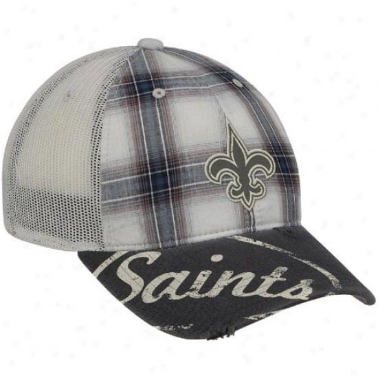 Unaccustomed Orleans Saints Gear: Reebok New Orleans Saints Gray Plaid Mesh Back Slouch Adjustable Hat