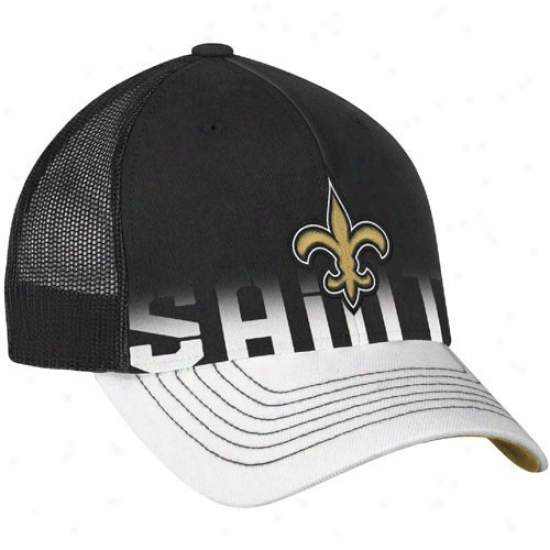 New Orleans Saints Gear: Reebok New Orleans Saints Black-white Player Mesh Back Trucker Hat