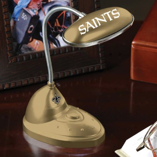 New Orleans Saints Gold Led Desk Lamp