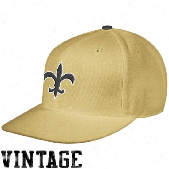 New Orleans Saints Hat : Mitchell & Ness New Orleans Saints Gold Throwback Fitted Flat Bill Hat