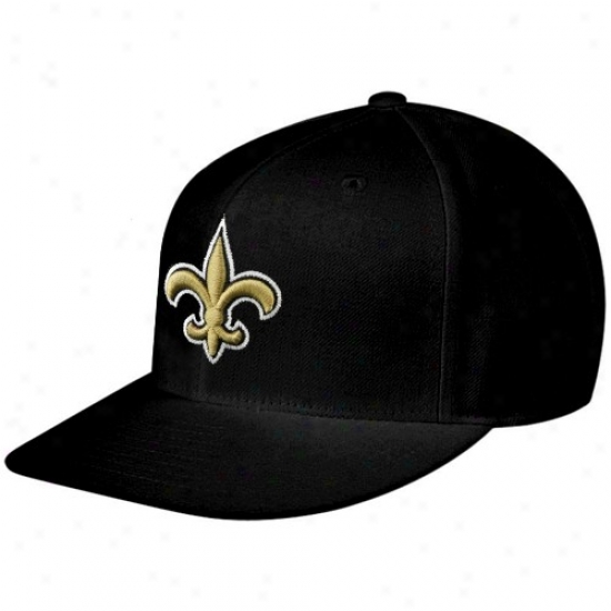 New Orleans Saints Hat : Reebok New Orleans Saints Black Sideline Flat Bill Fitted Hat