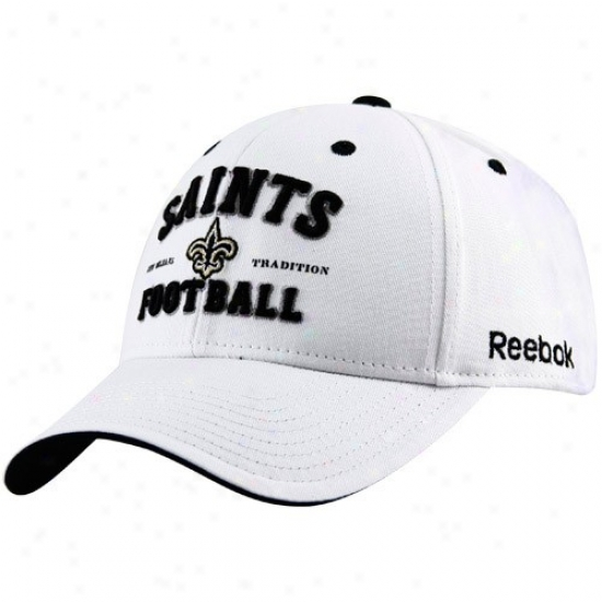 Starting a~ Orleans Saints Hats : Reebok New Orleans Saints White New Orleans rTadition Adjustable Hats