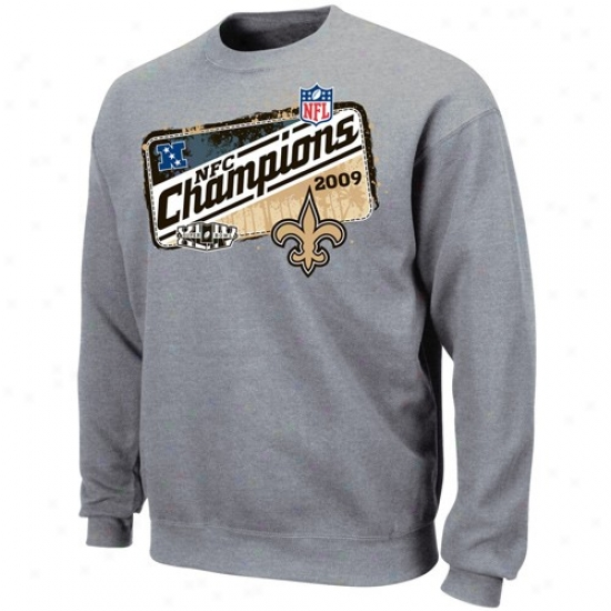 New Orleans Saints Hoodie : New Orleans Saints Ash 2009 Nfc Champions Locker Room Crew Hoodie
