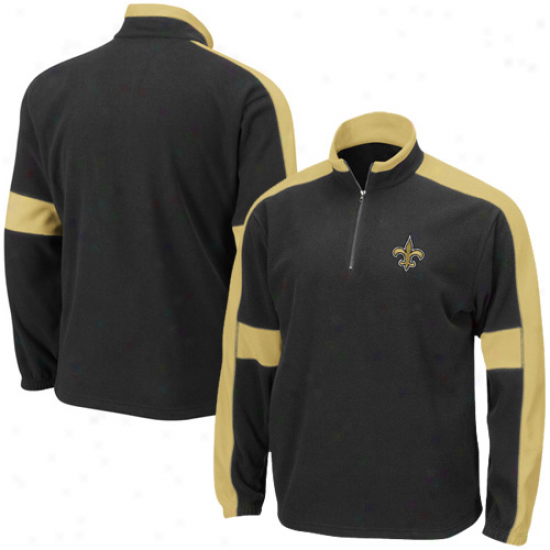 New Orleans Saints Hoodys : New Orleans Saints Black Game Stopper 1/4 Zip Hoodys Jacket