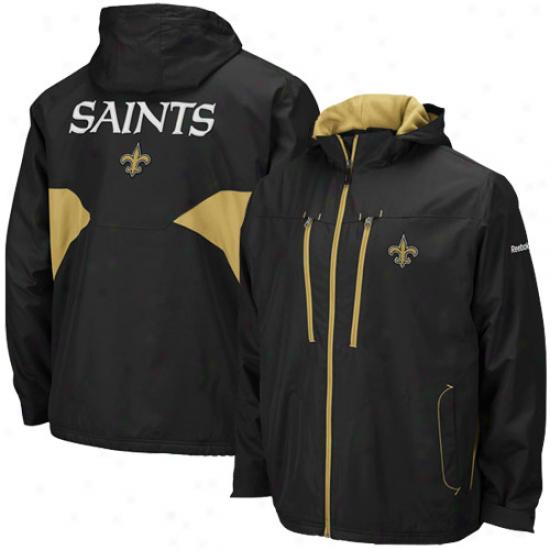 New Orleanw Saints Jacket : Reebok New Orleans Saints Black Sideline Midweiyht Full Zip Jacket