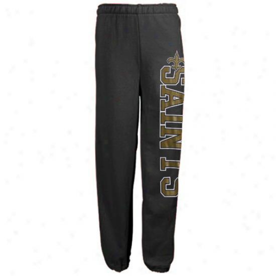 New Orleans Saints Ladies Black Lateral Spirit Lounge Pants