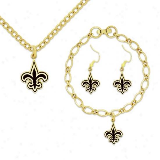 New Orleans Saints Ladies Gold-tone Jewelry Gift Set