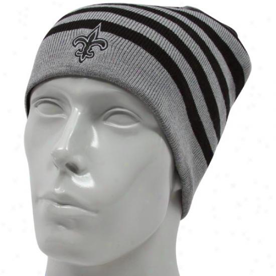 Unaccustomed Orleans Saints Merchandise: Reebok New Orleans Saints Black-gray Reversiible Knit Beanie