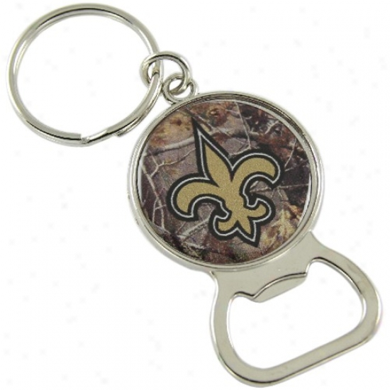 New Orleans Saints Real Tree Camo Bottle Opener Keychain