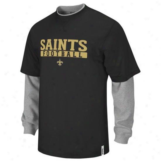 New Orleans Saints Shirt : Reebok New Orleans Saints Youth Black-gray Splitter Long Sleeve Shirt