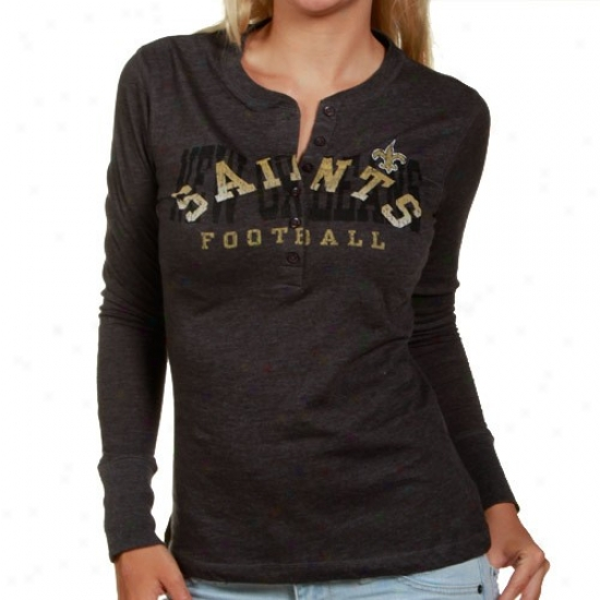 New Orleans Saints Shirts : New Orleans Saints Ladies Charcoal Game Day Gal Ii Long Sleeve Heathered Henley Shirts