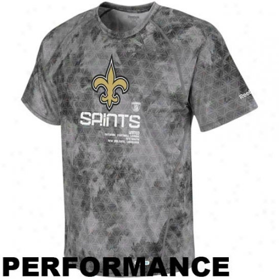 New Orleans Saitns Shirts : Reebok Recent Orleans Saints Gray Sideline United Digital Print Speedwick Performance Shirts