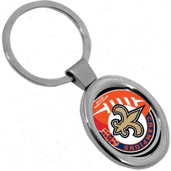 New Orleans Saints Supwr Bowl Xliv Champions Deluxe Oval Keychain
