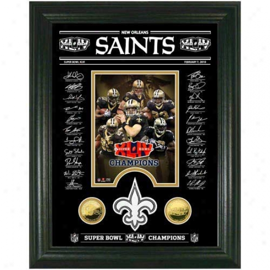New Orleans Saints Super Bowl Xliv Champions 24kt Gold Coins Archival Etched Signature Glass Photomint