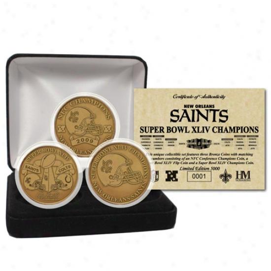 New Orleans Saints Super Bowl Xliv Champions Bronze 3 Coin Set