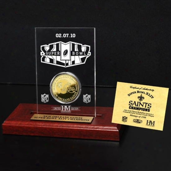 New Orleans Saints Super Bowl Xliv Champions Engraved Acrylic With 24kt Gold Champions Coin