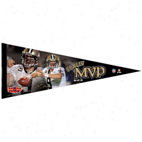 New Orleans Saints Super Bowl Xliv Champions #9 Drew Brees Mvp 12'' X 30'' Premium Felt Pennant