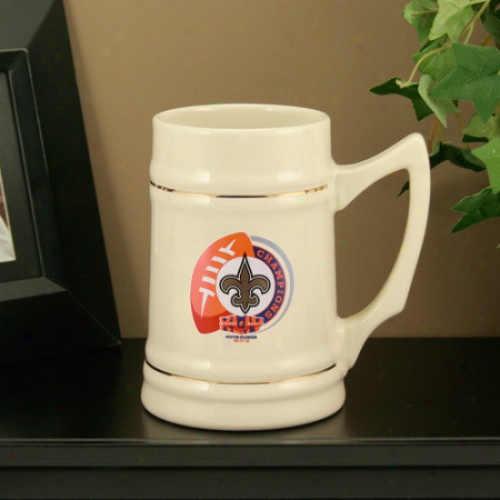 New Orlleans Saints Super Bowl Xliv Champions Natural 24oz. Ceramic Stein
