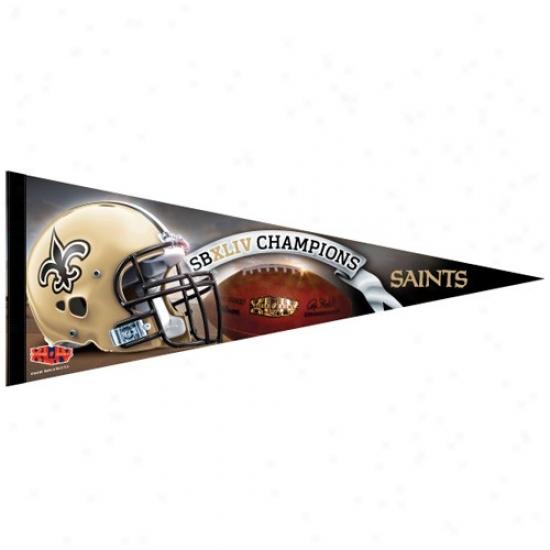 """new Orleans Saints Super Bowl Xliv Champions 12"""" X 30"""" Premium Felt Pennant"""