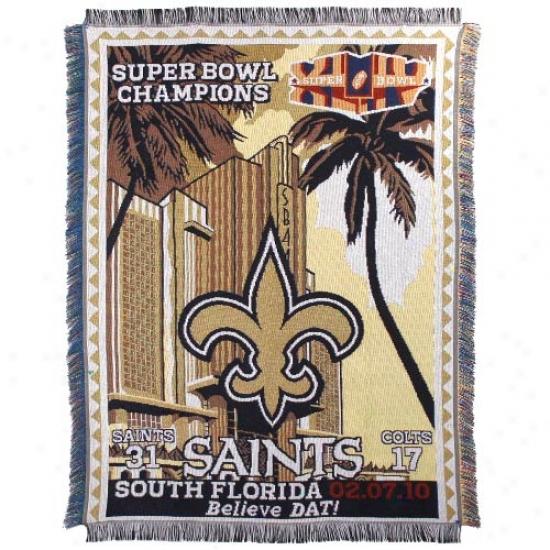 New Orleans Saints Super Bowl Xliv Champions Triple Layered Jacquard Blanket Throw
