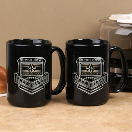 New Orleans Saints Super Bowl Xliv Champions 2-pack Black 15oz. Pewter Logp Mug Set