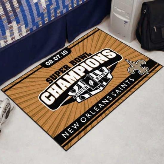 """new Orleans Saints Super Bowl Xliv Champions Gold 19"""" X 30"""" Starter Mat"""