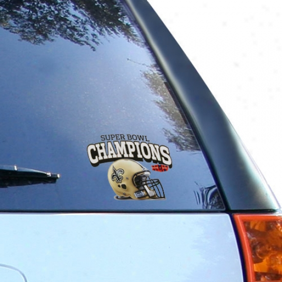 """new Orleans Saints Super Bowl Xliv Champions 4.5"""" X 6"""" Ultra Decal Window Cling"""