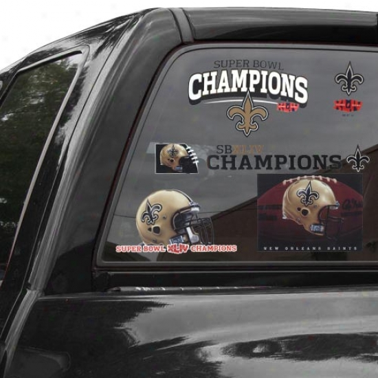 New Orleans Saints Super Bowl Xliv Champions 11'' X 17'' Ultra Decal Window Clings Sheet