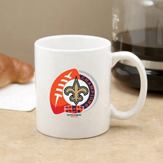 New Orleans Saints Super Bowk Xliv Champions 11oz. White C-handle Mug
