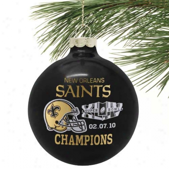 """new Orleans Saints Super Bowl Xliv Champion sBlack 3 1/4"""" Capacious Traditional Ornament"""