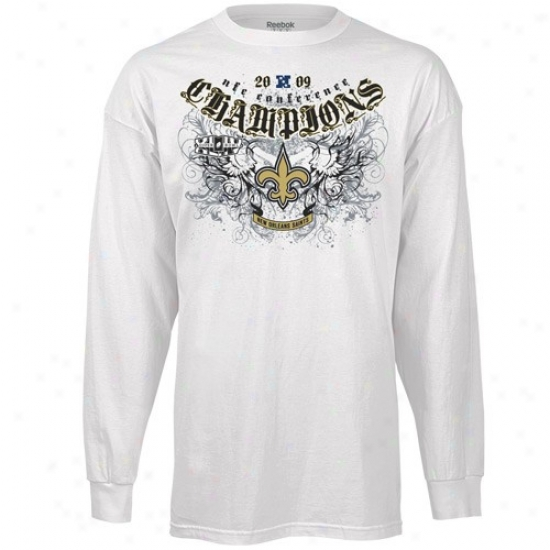 New Orleans Saints Tees : Reebok New Orleans Saints Happy 2009 Nfc Champions Rebelistic Long-winded Sleeve Tees