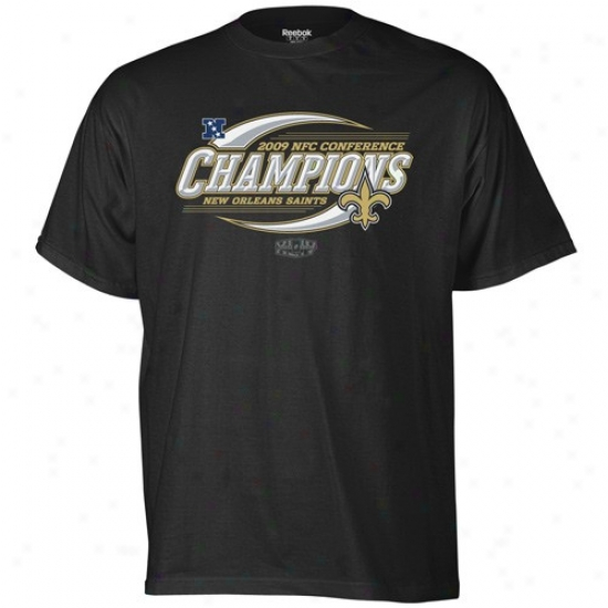 New Orleans Saints Tshirt : Reebok New Orleans Saints Black 2009 Nfc Champions Spin Cycle Tshirt