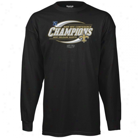 New Orleans Saints Tshirts : Reebok New Orleans Saints Black 2009 Nfc Champions Spin Cycle Lengthy Sleeve Tshirts