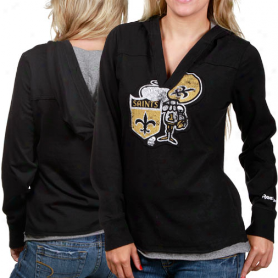 New Orleans Saints Tshirts : Reebok New Orleans Saints Ladies Black Classics Long Sleeve Hoody Tshirts