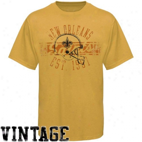 New Orleans Saints Tshirts : Reebok New Orleans Saints Gold Flank Formation Vintage Tshirts
