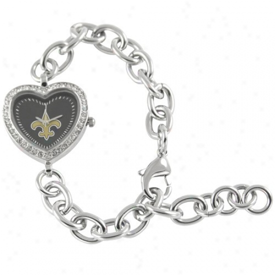 New Orleans Saintq Watches : New Orleans Saints Ladies Silver Heart Watches
