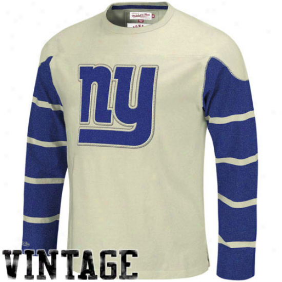 New York Giant Appatel: Mitchell & Ness New York Giant Cream Gridiron Vintage Long Sleeve T-shirt
