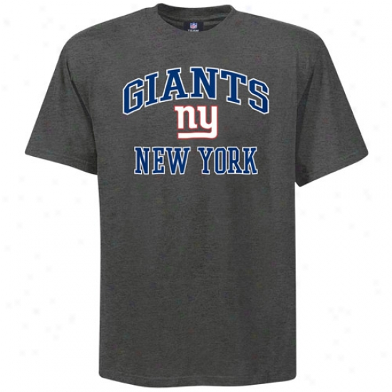 New York Giant Attire: Reebok New York Giant Charcoal Heart And Soul T-shirt