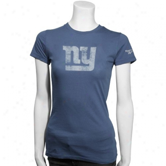 New York Giant Attire: Reebok New York Giant Ladies Libht Blue Distressed Logo Fitted T-shirt