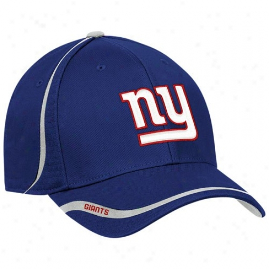 New York Giant Gear: Reebok New York Giant Royal Blue Coaches Flex Fit Hat