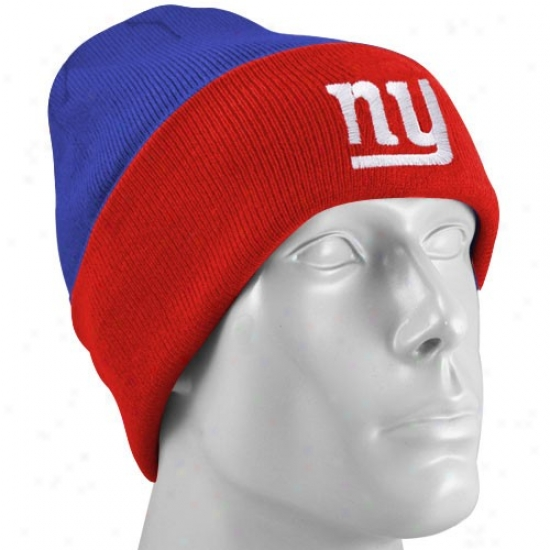 New York Monster Gear: Reebok New York Giant Youth Royal Blue-red Watch Knit Beanie