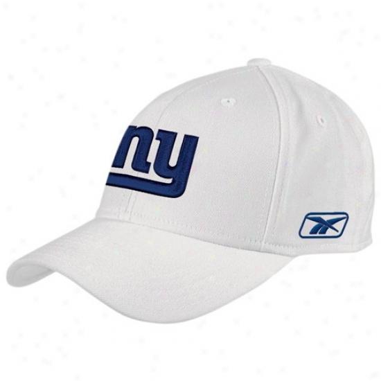 New York Giant Hat : Reebok New York Giant White Coaches Flex Hat